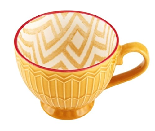 Marigold Honey Yellow Pad Print Geometric Design Retro Mid-Century Modern Embossed Coffee Tea Footed Mug (Microwave and Dishwasher Safe)