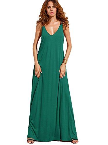 Verdusa Women's Casual Sleeveless Deep V Neck Knitted Shift Sexy Maxi Long Dress Green (Long Shift Dress)
