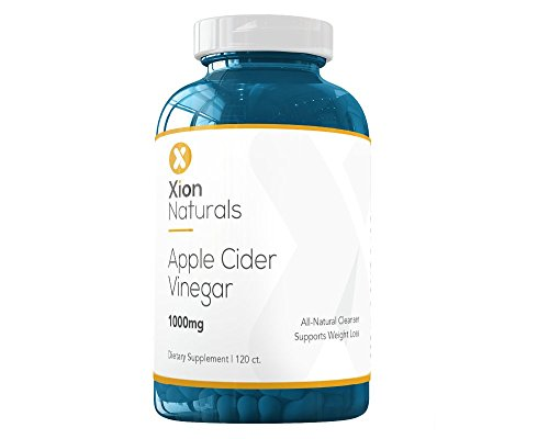 Xion Naturals Apple Cider Vinegar Capsules - 500mg 120ct for Natural Weight Loss, Detox & Cleanse, Digestion and Immune Support - Vegan, Gluten-Free, Non-GMO and 100% Made in (Natural Vinegar)