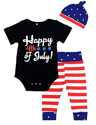 4th of July Baby Boy Girl Outfits Short Sleeve America Flag Clothes Set with Hat