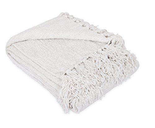 (Internet's Best Thick Chenille Throw Blankets | 50 x 60 Inches | Ultra Soft Sofa Couch Blanket with Fringe | Light Weight Sofa Throw | 100% Microfiber Polyester | Easy Travel | Bed (Ivory))