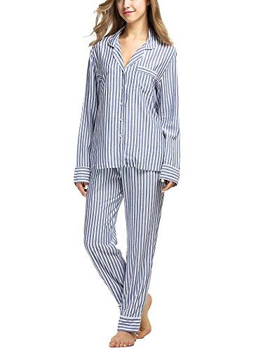 Ekouaer Womens Button Down Sleepwear 2 Pcs Lounge Sets With Pockets (Blue, - Pajamas Blue Striped
