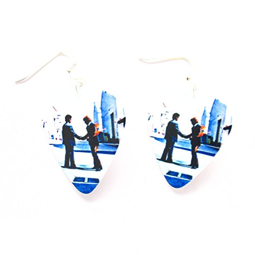 Pink Floyd Earrings Guitar Pick Wish You Were Here Classic Rock and Roll Music White - Earrings Floyd Pink