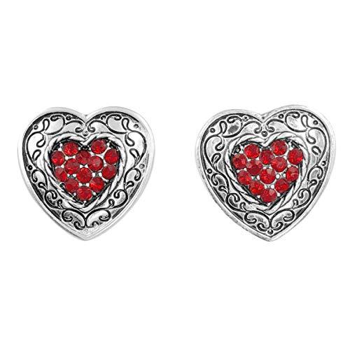 Designer Inspired Look Rhinestone Bling Post Stud Earrings (Red Heart)