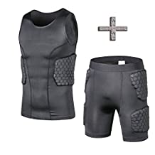 TUOY Men's Boys Padded Compression Shirt Rib Protector for Football Paintball