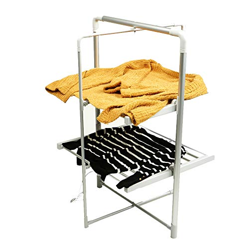 Mind Reader LGDRY-SIL Electric Heated Clothing Rack, 100 Watt Stainless Steel Foldable, Portable, Towel Stand Dryer, Airer, Warmer, Silver