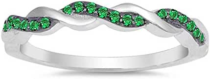 Sterling Silver Infinity Style Simulated Green Emerald Ring Sizes 4-10