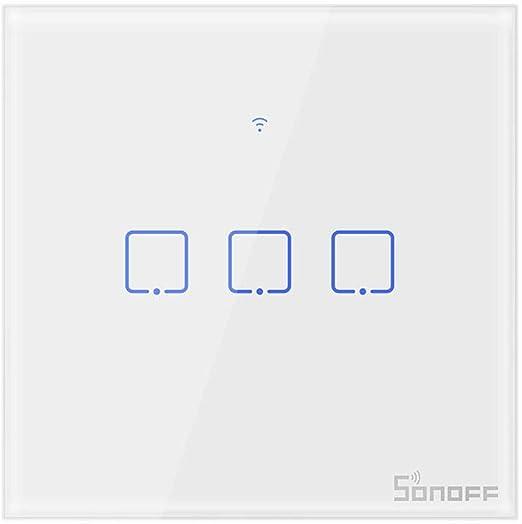 Sonoff 1//2//3 Gang inteligente Wi-Fi UK Luz de Pared Táctil Interruptor De Control Remoto