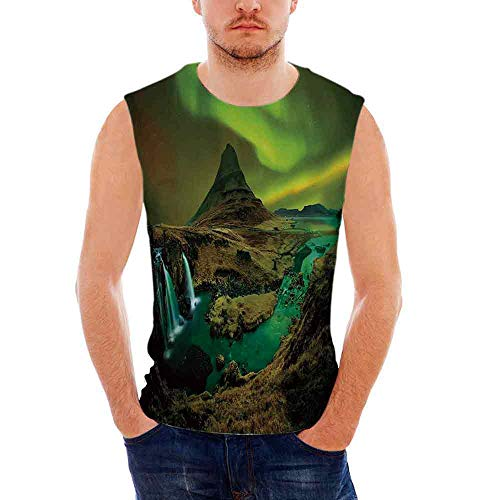 Over 1000 Yarns - iPrint Mens Performance Muscle T- Shirts Northern Lights,Pale Weather Over The Hills w