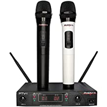 Phenyx Pro Dual VHF Wireless Microphone System, Two Handheld Mics, Fixed Frequency, Easy Setup, Color Coding, Ideal for Home Karaoke, Church, Party, YouTube Recording (PTV-1)