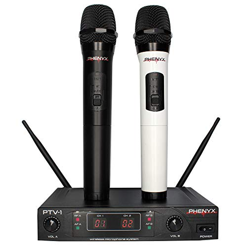 Phenyx Pro Dual VHF Wireless Microphone System, Two Handheld