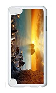 Ipod 5 Case,MOKSHOP Cool Sunset Coast Beach Hard Case Protective Shell Cell Phone Cover For Ipod 5 - PC White