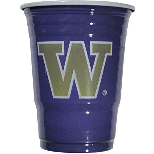 NCAA Plastic Game Day Cups, Washington Huskies,18-Ounce, Sleeve of 18 cups ()