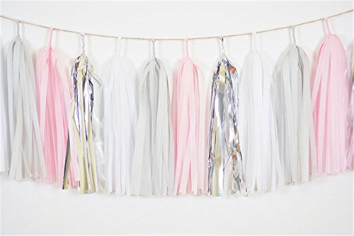 HEARTFEEL 20pcs Tissue Paper Tassel Garland White Grey Baby Pink Silver Bunting for Baby Shower, Bridal Shower, Birthday Party, Nursery Decoration Pom Poms (Color C) - Gray Party Decorations