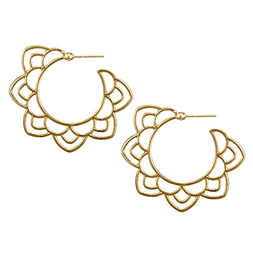 Ethnic Tribal Gold Silver Floral Drop Earring for Women Hollow Flower Dangle Earring Boho Chic Round Earrings (Gold Floral Drop)