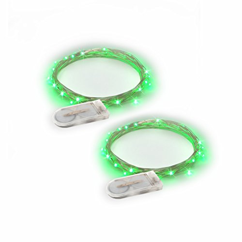 RTGS Products Green Colored LED Lights Indoor Outdoor String Lights, Fairy Lights Battery Powered Patio, Bedroom, Holiday Decor, etc. (GREEN COLOR 20 LEDs 6.5 FEET 2 SETs)]()