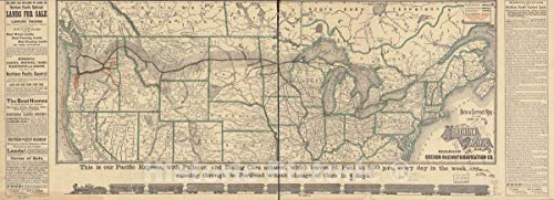 (Historic 1883 Map | New and Correct map of The Lines of The Northern Pacific Railroad and Oregon Railway & Navigation Co. 100in x 36in)