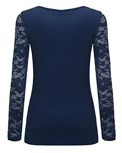 V Casual Shirt Camicetta Ufficio Manica Maliga Lunga Maglietta Blu Donna Elegante Sottile Collo ZANZEA Pizzo T xCq4Rwzccg
