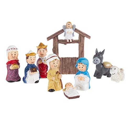 Hey!Play! Nativity Kids Playset – Hand Painted Christmas Childrens Manger Scene Indoor Decor & Bible Toys for Sunday School, Holiday Decoration