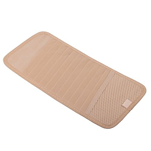 Car CD DVD Allbum Holder 12 Disc Storage Case Organizer Sun Visor Sunshade Sleeve Wallet Clips (Beige Color) by HitCar
