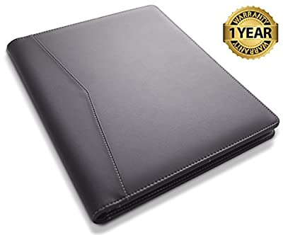 STYLIO Padfolio/Resume Portfolio Folder - Interview/Legal Document Organizer & Business Card Holder - with Letter-Sized Writing Pad - Handsome Piano Noir Faux Leather Matte Finish & Accent Stitching