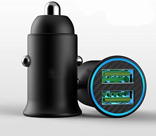 IOS Android用12V 2ポート付き車の充電器USBカーアダプター充電器、デュアルUSBミニ急速充電
