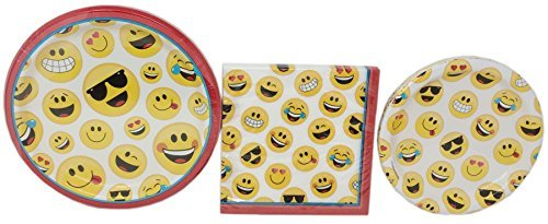 (Fun Emoji Plate Party Set - Lunch Plates, Snack Plates and Napkins - Serves 18 (48)