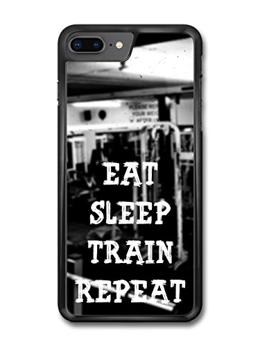 Gym Motivational Eat Sleep Train Repeat on Black and White Stylish case for iPhone 8 Plus