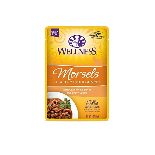 Wellness Healthy Indulgence Natural Grain Free Wet Cat Food Variety Pack, 3-Ounce Pouches (4) Morsels Chicken & Salmon, (4) Morsels Tuna, (4) Morsels Salmon & Tuna (12 Pack Bundle)