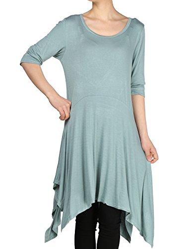 Mordenmiss Women's Handkerchief Hem Tunic Tops Basic Shirt 11 Colors Size M Green Gray ()