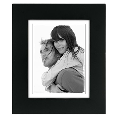 Malden International Designs Linear Classic Wood Picture Frame, 4x5, Black Design Photo