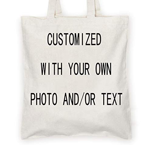 Personalized Custom your own canvas Tote bag - Add your logo, picture, text - Reusable canvas - Shoppingbag, Personalized bag,Custom tote bag,Gifts for Women, Christmas bag ()