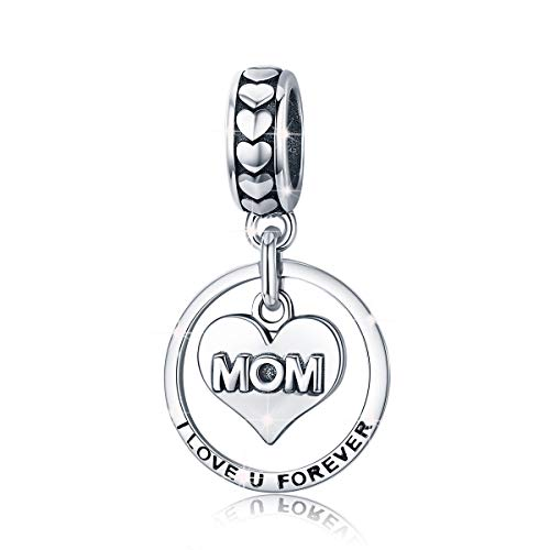 Mom Charms 925 Sterling Silver Engrave I Love u Forever Beads Charm fit Pandora Bracelet and Necklace