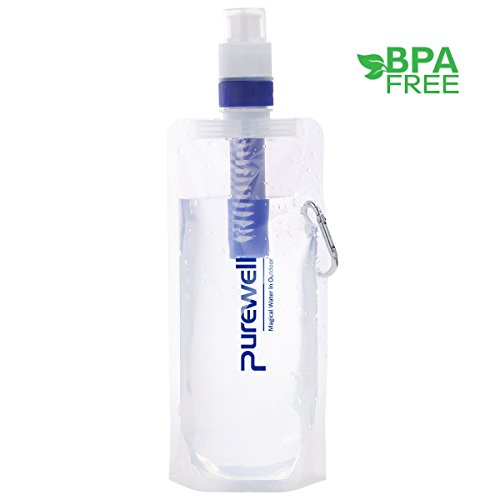 Collapsible Filtered Water Canteens for Hiking, Water Bag/Bottle with Filter, Squeeze Water through a Filter, Antibacterial Lightweight, BPA Free, Leak Proof, Emergency Preparedness, 0.01 Micron Straw by Purewell