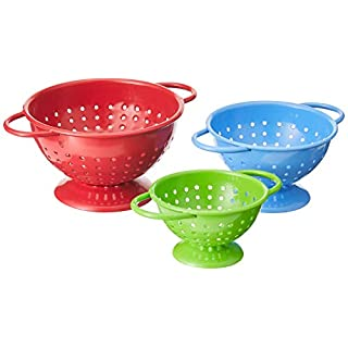 Prepworks by Progressive Powder-Coated Steel Colanders Set of 3 Sizes (¼, ½ and 1 cup) Red, Blue and Green Mini Colander, Fruit Vegetable Strainer