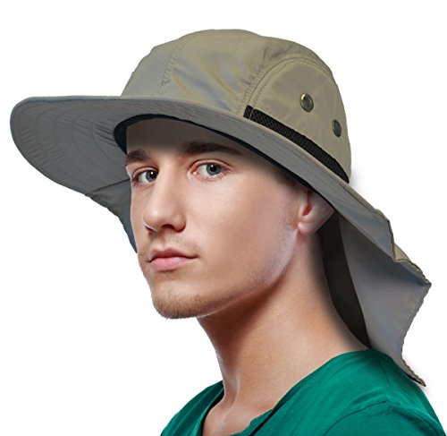 Sun Blocker Outdoor Sun Protection Fishing Cap with Neck Flap Wide Brim Hat for Safari Hiking Hunting Boating and Outdoor Adventures, Tan