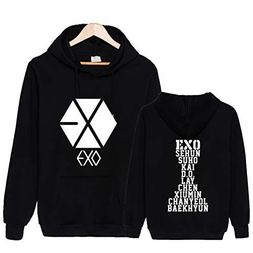 Qaedtls Kpop EXO Hoodie Sweatshirt Sehun Suho Xiumin Kai Chanyeol Sweater Jacket L Black(B)