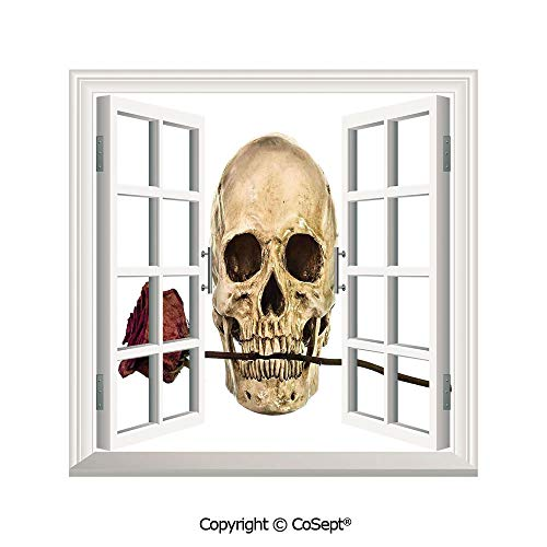 SCOXIXI Open Window Wall Mural,Skull with Dry Red Rose in Teeth Anatomy Death Eye Socket Jawbone Halloween Art Decorative,for Living Room(25.86x22.63 inch)]()
