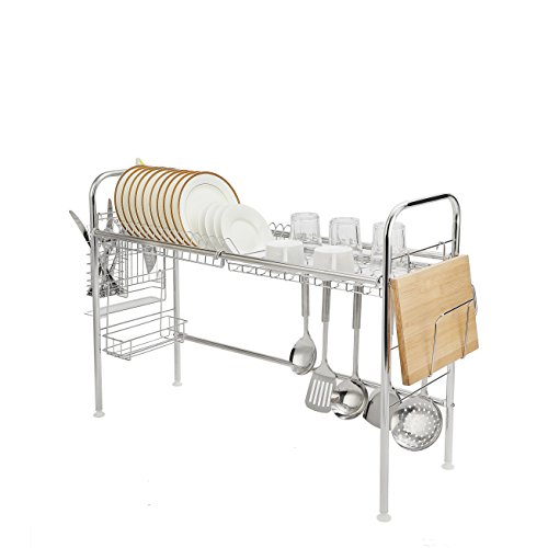 Dish Drying Rack Over Sink Dish Drainer Stainless Steel Adjustable Kitchen Dry Rack Organizer