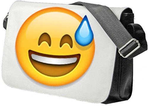 """Schultertasche """"Lächelndes Gesicht mit offenem Mund und kaltem Schweiß"""" Schultasche, Sidebag, Handtasche, Sporttasche, Fitness, Rucksack, Emoji, Smiley"""