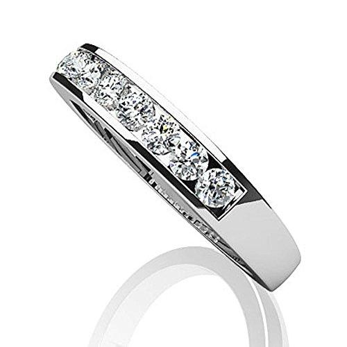 Canal de Or blanc 14K Bande de diamant