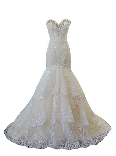 Angel Formal Dresses Women's Strapless Rhinestone Crystal Beaded Layered Lace Mermaid Wedding Dresses(4,White)