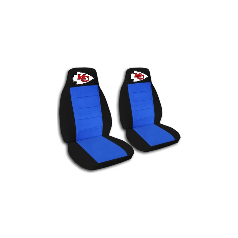 Black and medium blue Kansas City seat covers. 40/60 split seat covers for a Ford F 150 Super Crew cab. Center console included