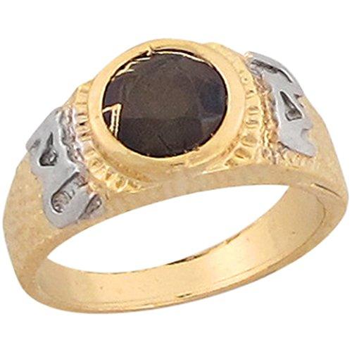 14k Two Tone Gold Black CZ I Love U Unique Aztec Design Baby Ring by Jewelry Liquidation (Image #3)