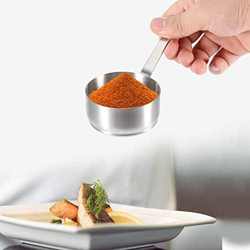 Cafopgrill Bol à Sauce de 100 ML en Acier Inoxydable, coupelles à Condiments pour Casserole à Condiments en Acier Inoxydable Classique du Chef avec poignée