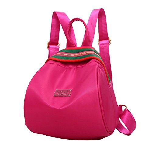 Lilimay Mochila Vintage de Nylon para Las Mujeres Mochila para La Camping Picnic Deporte Mochila de Universidad y Escuela, 21*7*26cm Rosa roja