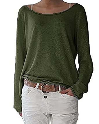ZANZEA Women's Solid O Neck Long Sleeve T Shirt Casual Knit Tops Blouse Pullover Army Green US 6/Tag Size S