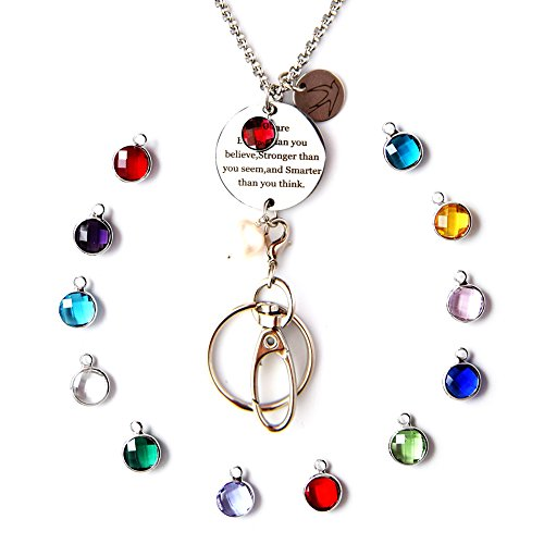 Crimmy ID Necklace for Women, Fashion Charm Badge Holder and Keychain, Inspirational Birthstone Pendant Lightweight Lanyard(July You are Braver) - July Birthstone Light