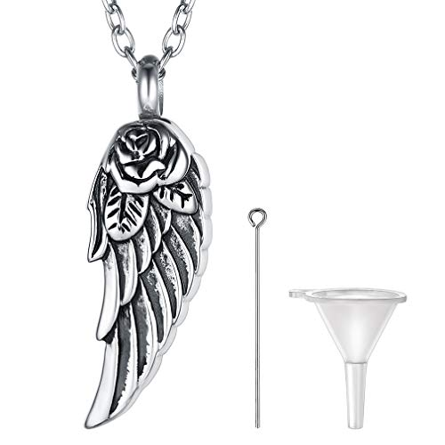 FaithHeart Wing Cremation Urn Necklace, Women Men Stainless Steel Memento Jewelry, Pet Ashes/Perfume Keepsake Pendant Necklace for Memory, Waterproof Angel Wing Ashes Necklace-Silver