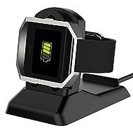 Fitbit Blaze Chargeur, Simpeak Remplacement de Chargeur pour Fitbit Blaze Montre de Fitness avec Câble USB et Support de Téléphone - Noir